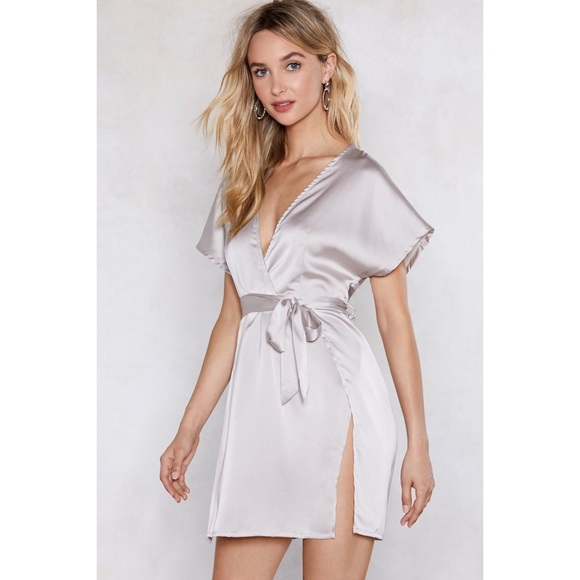 Nasty Gal Dresses & Skirts - Nastygal Call in Slick Silver Satin Dress